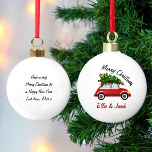 "Personalised ""Driving Home For Christmas"" Bauble"