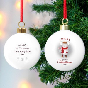"Personalised ""1st Christmas"" Mouse Bauble"
