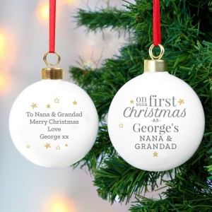 "Personalised ""First Christmas as"" Bauble"
