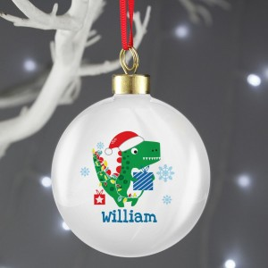 "Personalised Dinosaur ""Have a Roarsome Christmas"" Bauble"