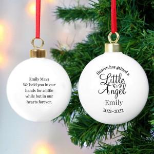 Personalised Little Angel Memorial Bauble