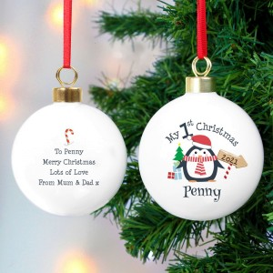 Personalised My 1st Christmas Penguin Bauble