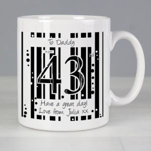 Personalised Black & White Happy Birthday Slim Mug
