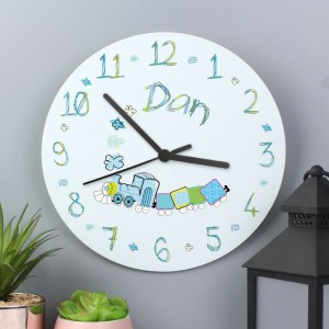 Personalised Patchwork Train Large Wooden Clock