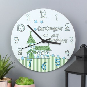 Personalised Church Boys Christening Large Wooden Clock