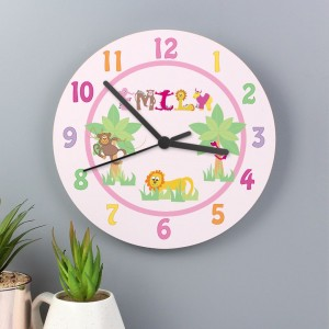 Personalised Animal Alphabet Girls Large Wooden Clock