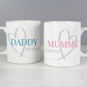 Personalised Mummy & Daddy Mug Set