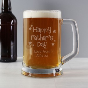 Personalised Happy Fathers Day Stars Pint Stern Tankard