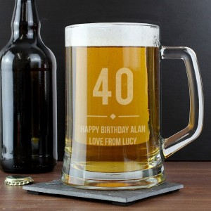 Personalised Big Age Glass Pint Stern Tankard
