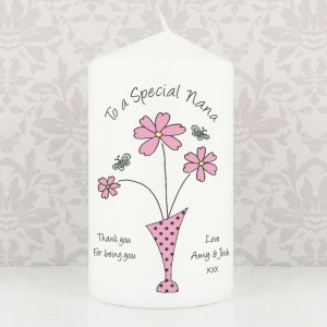 Personalised Flower in Vase Message Pillar Candle