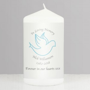 Personalised In Loving Memory Blue Candle