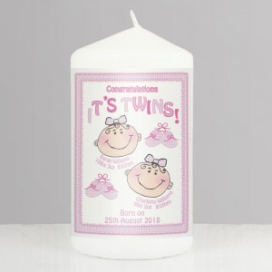 Personalised Its Twins Pillar Candle Pink