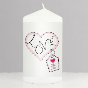 Personalised Heart Stitch Love Pillar Candle