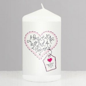 Personalised Perfect Love Pillar Candle