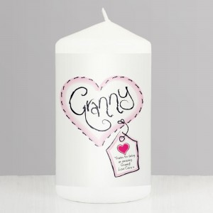 Personalised Granny Heart Stitch Pillar Candle