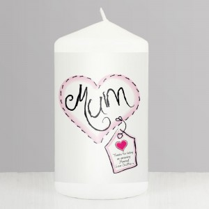 Personalised Heart Stitch Mum Pillar Candle