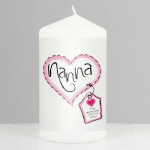Personalised Heart Stitch Nanna Pillar Candle
