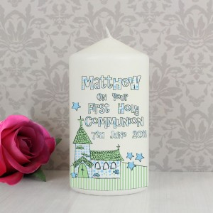 Personalised Whimsical Church Blue 1st Holy Communion Pillar Candle