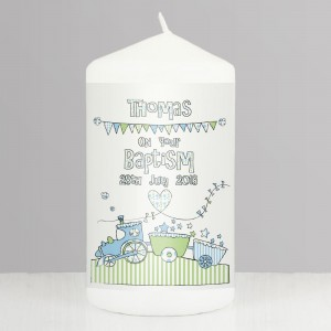 Personalised Whimsical Train Candle