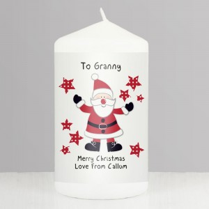 Personalised Spotty Santa Pillar Candle