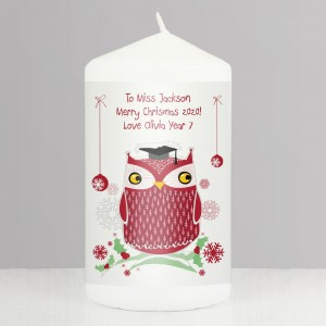 Personalised Christmas Owl Teacher Candle