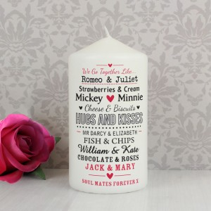 Personalised We Go Together Like.... Pillar Candle