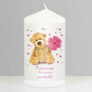 Personalised Teddy Flower Pillar Candle