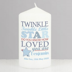 Personalised Twinkle Boys Pillar Candle
