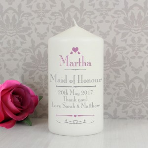 Personalised Decorative Wedding Pillar Candle