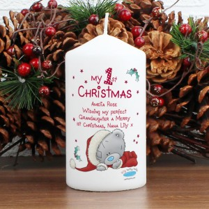 Personalised Me To You My 1st Christmas Pillar Candle