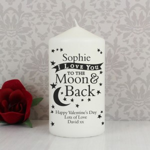 Personalised To the Moon and Back... Pillar Candle
