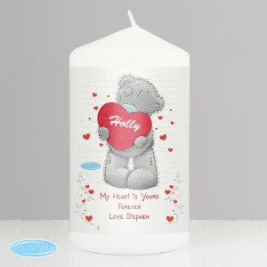 Personalised Me to You Big Heart Pillar Candle