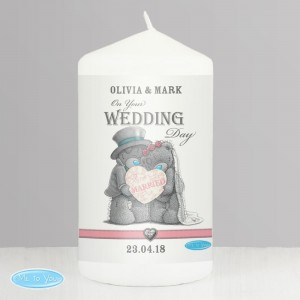 Personalised Me To You Wedding Couple Pillar Candle