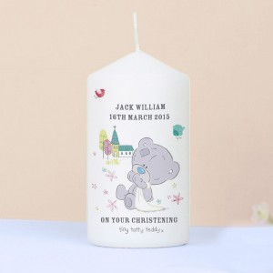 Personalised Tiny Tatty Teddy Christening Pillar Candle