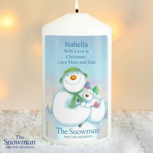 Personalised The Snowman and the Snowdog Pillar Candle