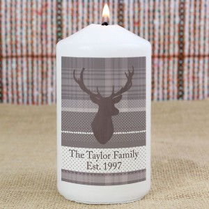 Personalised Highland Stag Pillar Candle