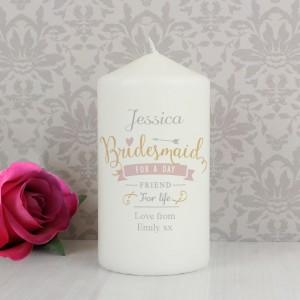 Personalised I Am Glad... Bridesmaid Pillar Candle