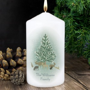 Personalised A Winter's Night Pillar Candle
