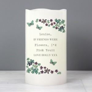Personalised Forget Me Not LED Candle
