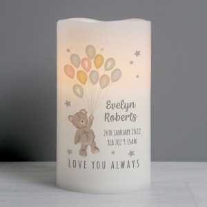 Personalised Teddy & Balloons Nightlight LED Candle
