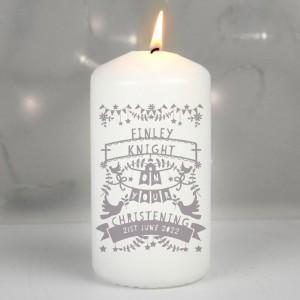 Personalised Grey Papercut Style Pillar Candle