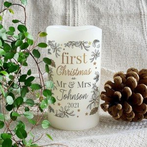 Personalised First Christmas LED Candle