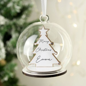 Personalised Wooden Christmas Tree Glass Bauble