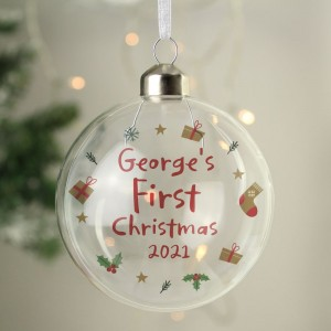 Personalised First Christmas Glass Bauble