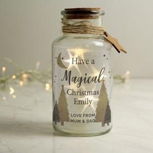 Personalised Christmas Tree LED Glass Jar