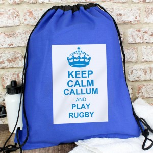 Personalised Blue Keep Calm Swim & Kit Bag