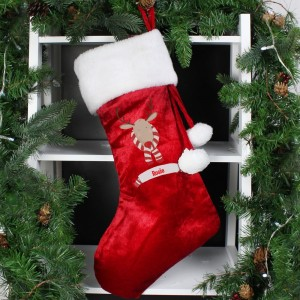 Personalised Retro Reindeer Luxury Red Stocking