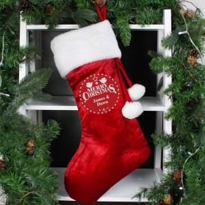 Personalised Christmas Wishes Luxury Red Stocking