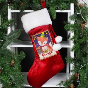 Personalised Festive Fox Luxury Red Stocking