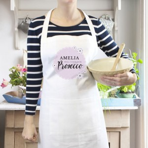 """Personalised Lilac Lace """"Will Cook for Prosecco"""" White Apron"""